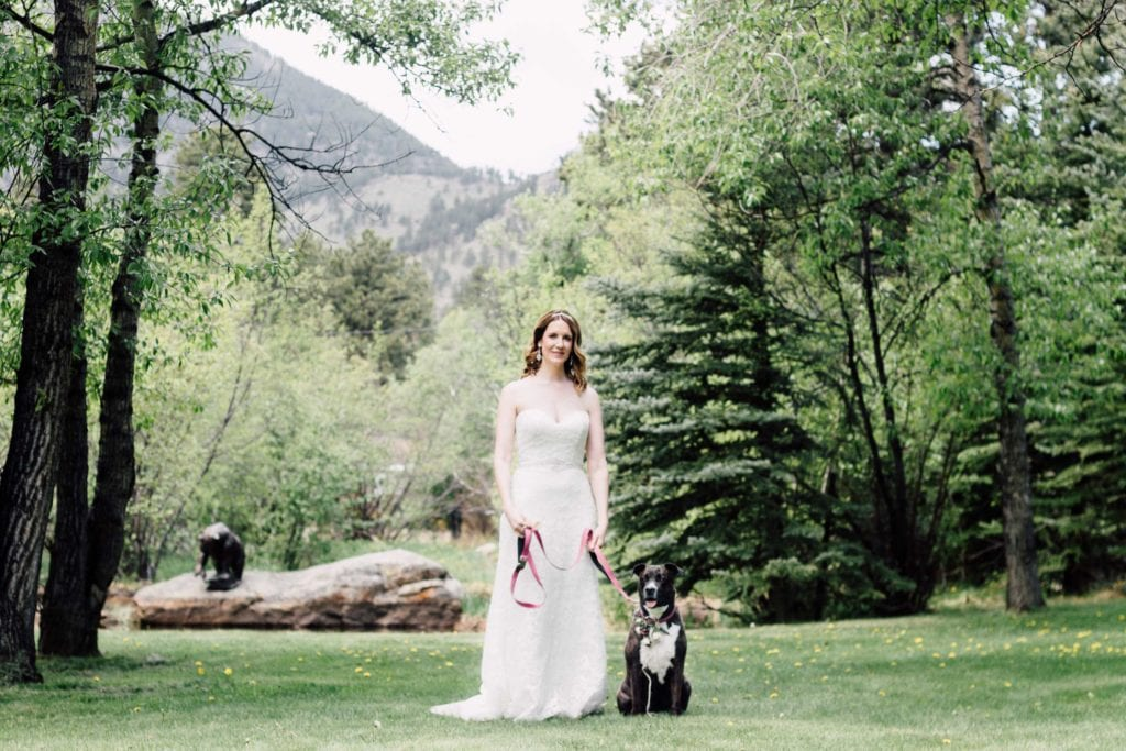 bride poses with dog at Romantic RiverSong