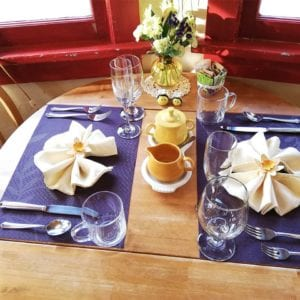 breakfast table set