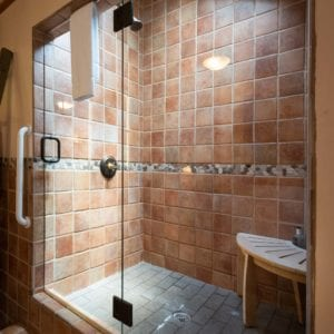 large clean bathroom with sunlight