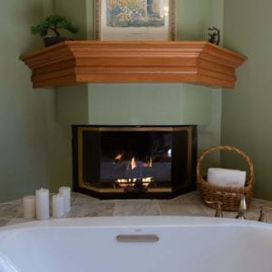 fireplace by large tub