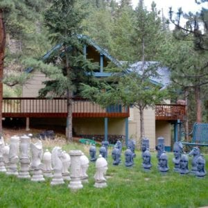 outdoor chess set ready to play