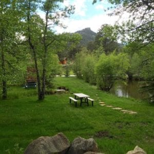 picnic table by the ponds