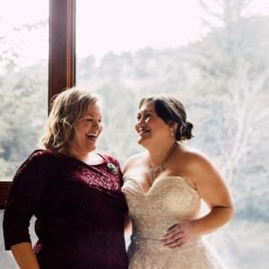 happy bride at romantic riversong