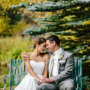 couple during outdoor wedding